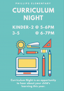Curriculum Night @ Kinder - 2nd @ 5-6; 3rd - 5th @ 6-7